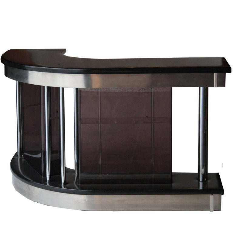 Bar With Counter Footboard And Stool Wood Fabric Mirrors