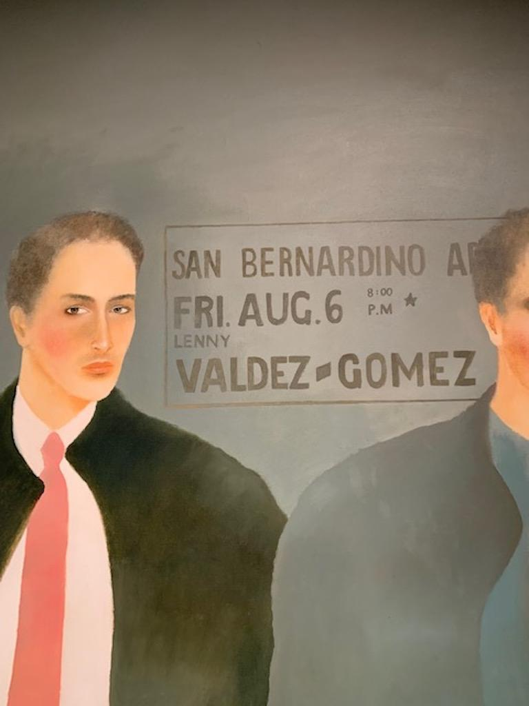 Contemporary oil painting of two young men with a blue background in a silver frame (