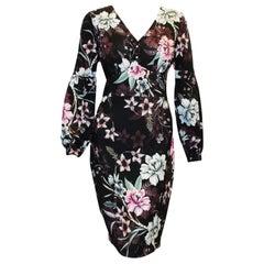 Badgley Mischka Black Floral Long Sleeve Dress