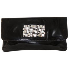 Badgley Mischka Black Patent Leather Abolene & Mother of Pearl Brooch Clutch