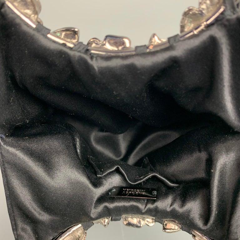 BADGLEY MISCHKA Black & Silver Beaded Satin Evening Handbag For Sale 2
