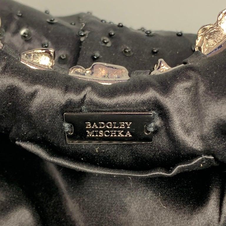 BADGLEY MISCHKA Black & Silver Beaded Satin Evening Handbag For Sale 3