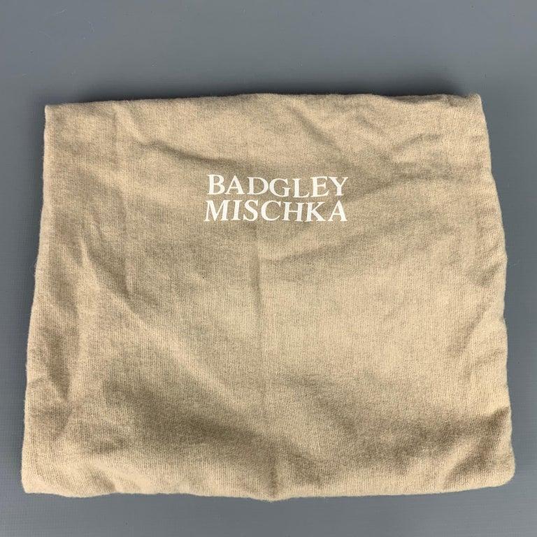 BADGLEY MISCHKA Black & Silver Beaded Satin Evening Handbag For Sale 4