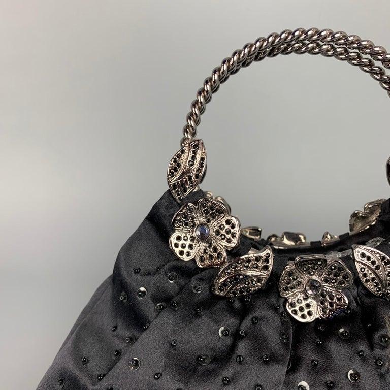 BADGLEY MISCHKA Black & Silver Beaded Satin Evening Handbag For Sale 5