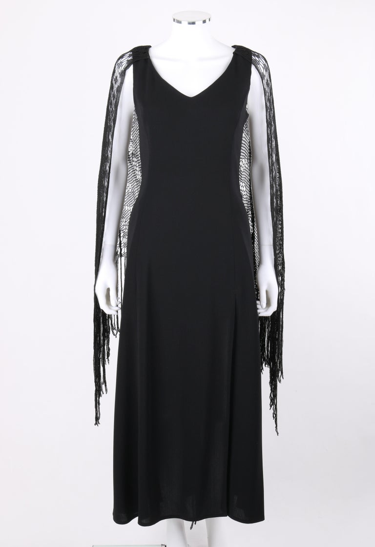 BADGLEY MISCHKA c.1990's Black Crochet Knit Cape Shawl Sleeveless Midi Dress NWT In Good Condition For Sale In Thiensville, WI
