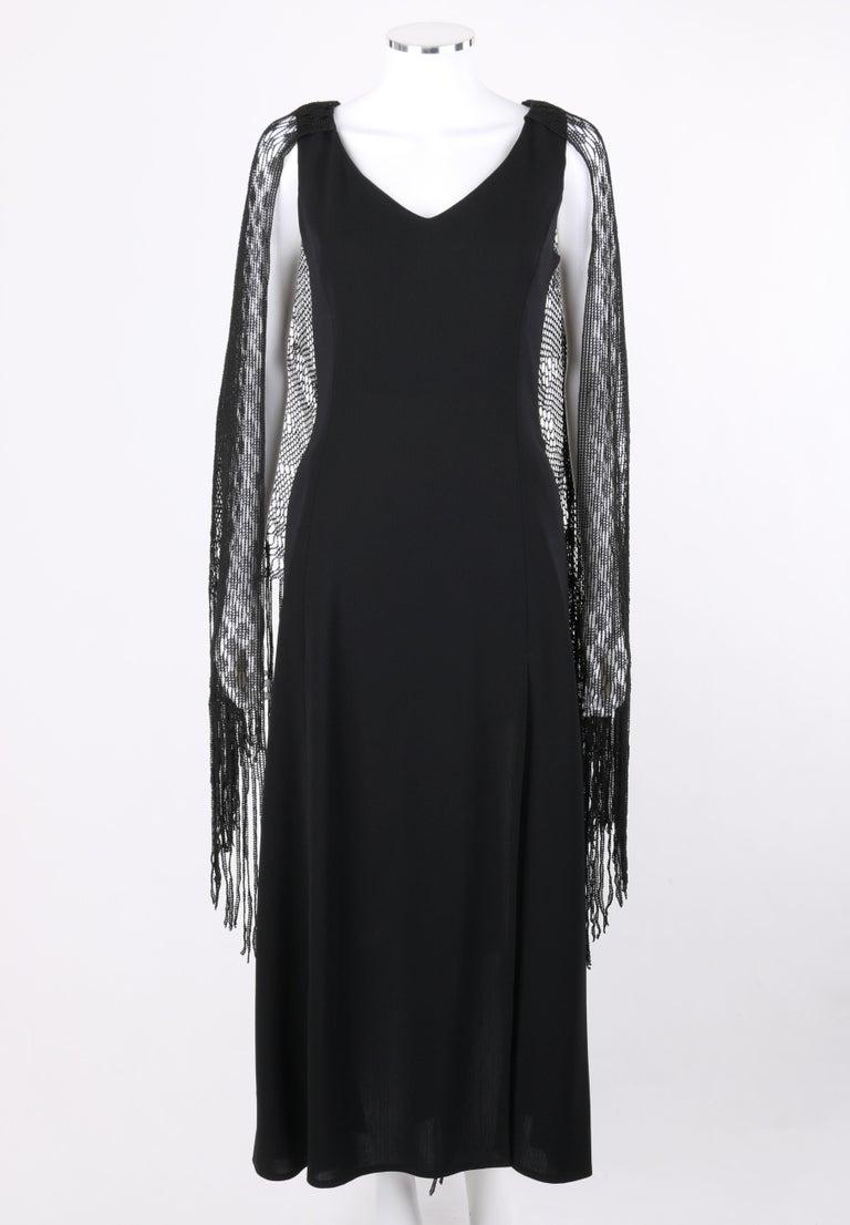 Women's BADGLEY MISCHKA c.1990's Black Crochet Knit Cape Shawl Sleeveless Midi Dress NWT For Sale