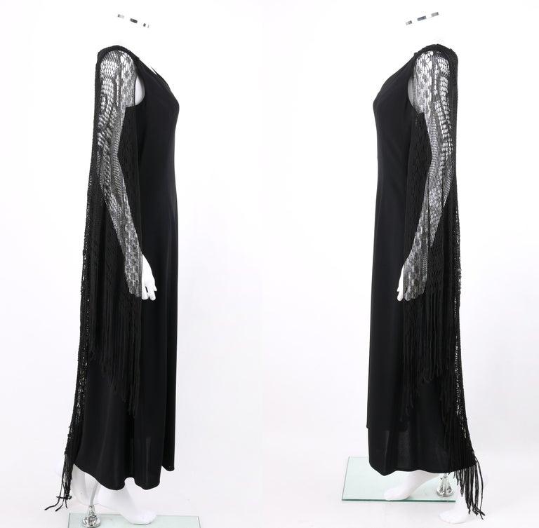 BADGLEY MISCHKA c.1990's Black Crochet Knit Cape Shawl Sleeveless Midi Dress NWT For Sale 1