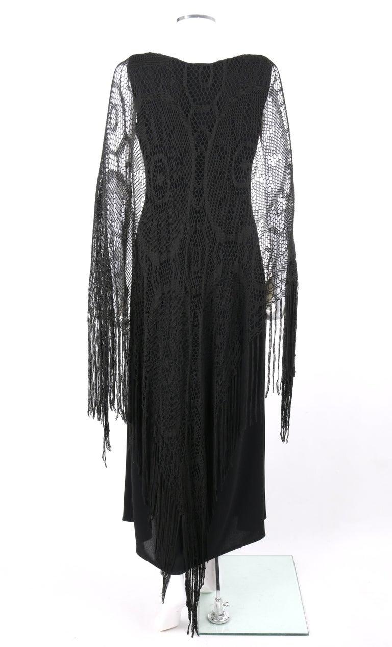 BADGLEY MISCHKA c.1990's Black Crochet Knit Cape Shawl Sleeveless Midi Dress NWT For Sale 2