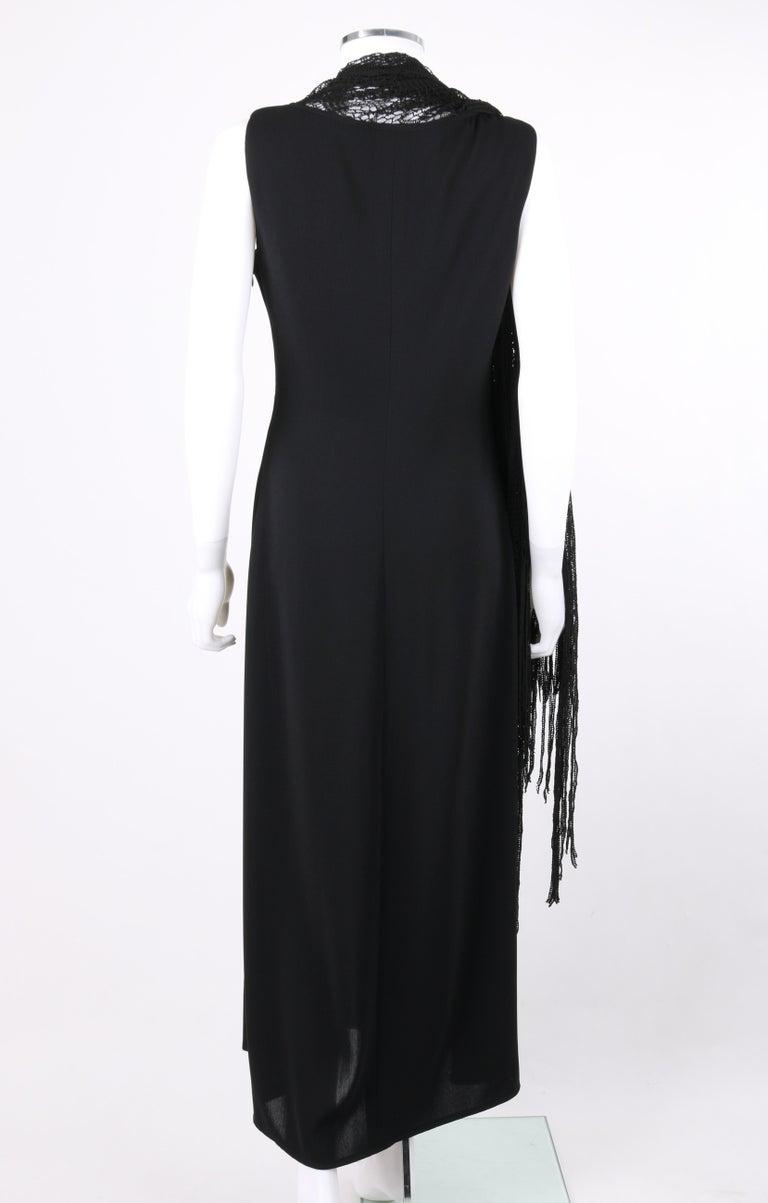 BADGLEY MISCHKA c.1990's Black Crochet Knit Cape Shawl Sleeveless Midi Dress NWT For Sale 3
