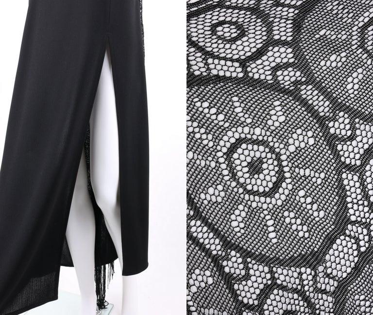 BADGLEY MISCHKA c.1990's Black Crochet Knit Cape Shawl Sleeveless Midi Dress NWT For Sale 4