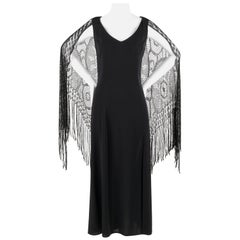 BADGLEY MISCHKA c.1990's Black Crochet Knit Cape Shawl Sleeveless Midi Dress NWT