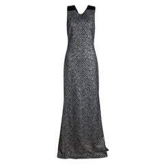 Badgley Mischka Collection Black and Gold Lace Bow Detail Sleeveless Gown M