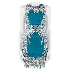 Badgley Mischka Collection Teal Green Floral Sequin Sleeveless Cocktail Dress XS