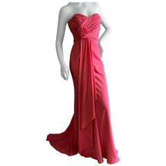 Badgley Mischka Coral Draped Strapless Evening Dress New with Tags