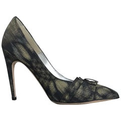 Badgley Mischka Couture Black Sunflower Fabric High Heel Pumps 6 1/2