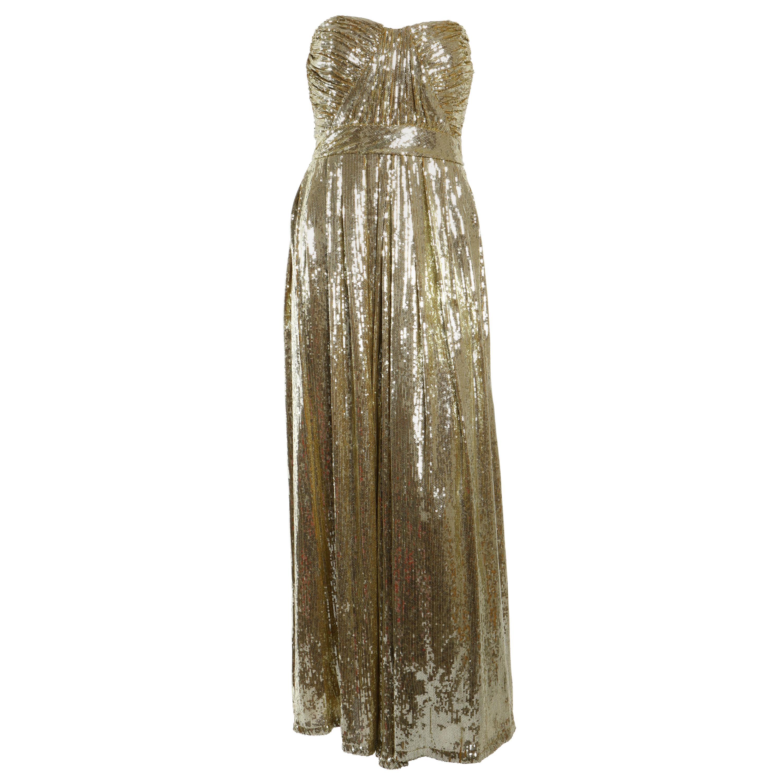Badgley Mischka Gold Strapless Sequin Gown