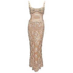 Badgley Mischka Mauve & Brown Lace Beaded Evening Dress