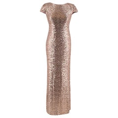 Badgley Mischka Rose Gold Sequin Cowl Back Gown US4