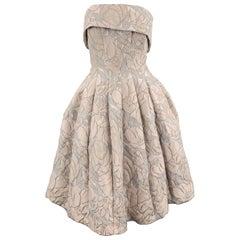 BADGLEY MISCHKA Size 8 Pink Cream & Gray Floral Jacquard Strapless Flair Dress