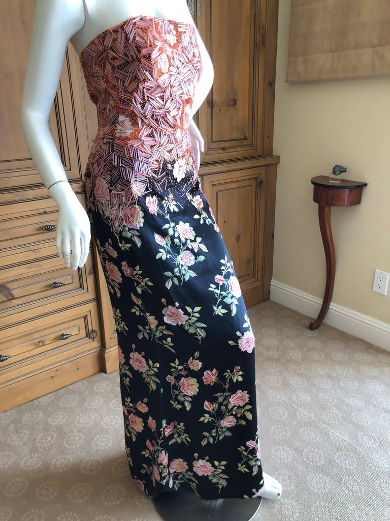 Badgley Mischka VIntage Silk Floral Beaded Ballgown with Huge Matching Shawl  This is hard to photograph, but is covered in a geometric pattern of bugle beads that shimmers in the light.   Size 2   Bust 34