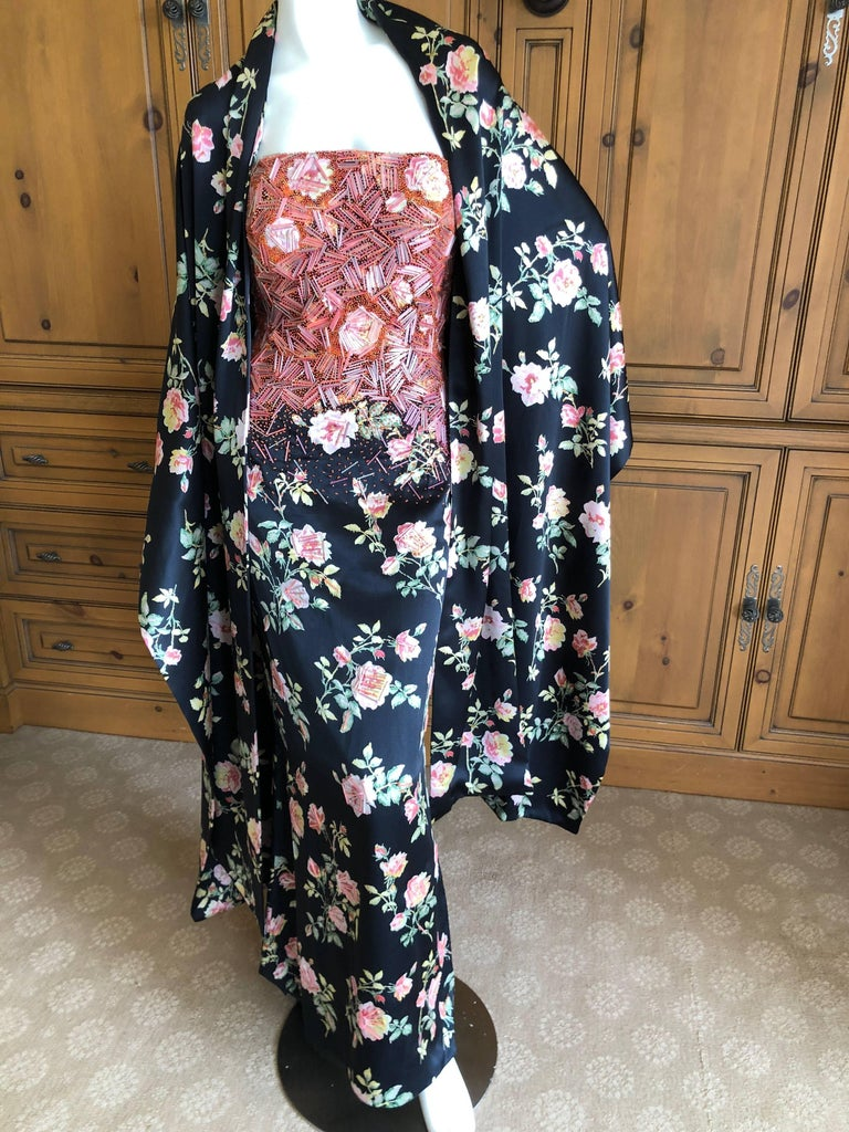 Badgley Mischka VIntage Beaded Silk Floral Ballgown with Wide Matching Shawl  For Sale 1