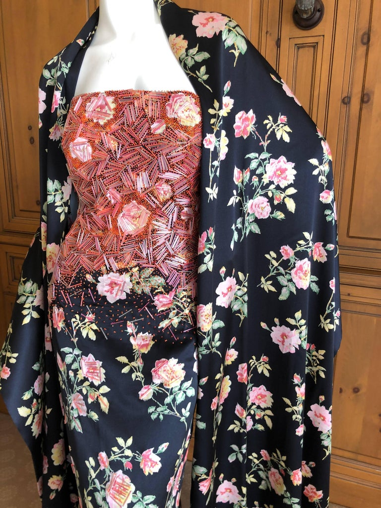 Badgley Mischka VIntage Beaded Silk Floral Ballgown with Wide Matching Shawl  For Sale 2