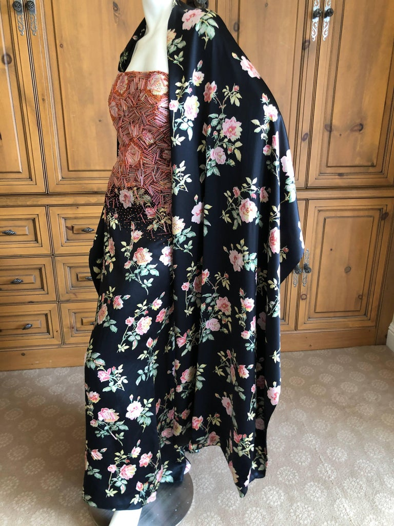 Badgley Mischka VIntage Beaded Silk Floral Ballgown with Wide Matching Shawl  For Sale 4