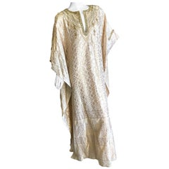 Badgley Mishka Couture Richly Jeweled & Pearl Embellished Gold Silk Caftan NEW