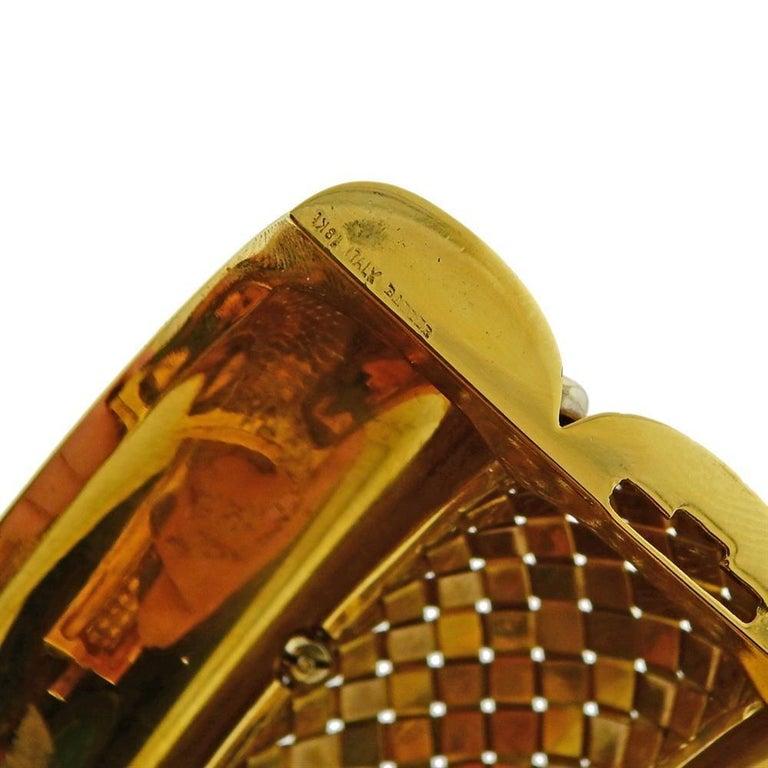 Women's Badler Italy Gold Diamond Massive Bangle Bracelet For Sale