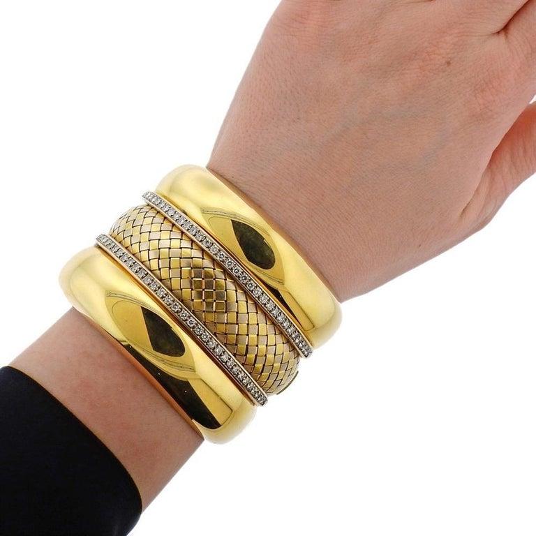 Badler Italy Gold Diamond Massive Bangle Bracelet For Sale 1