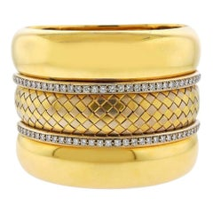 Badler Italy Gold Diamond Massive Bangle Bracelet