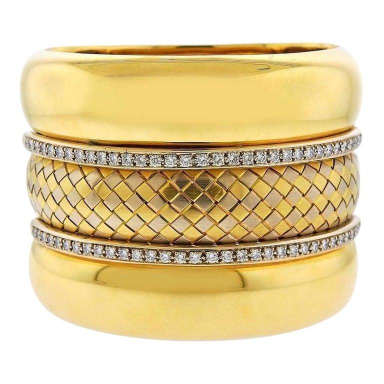 Badler Italy Gold Diamond Massive Bangle Bracelet For Sale