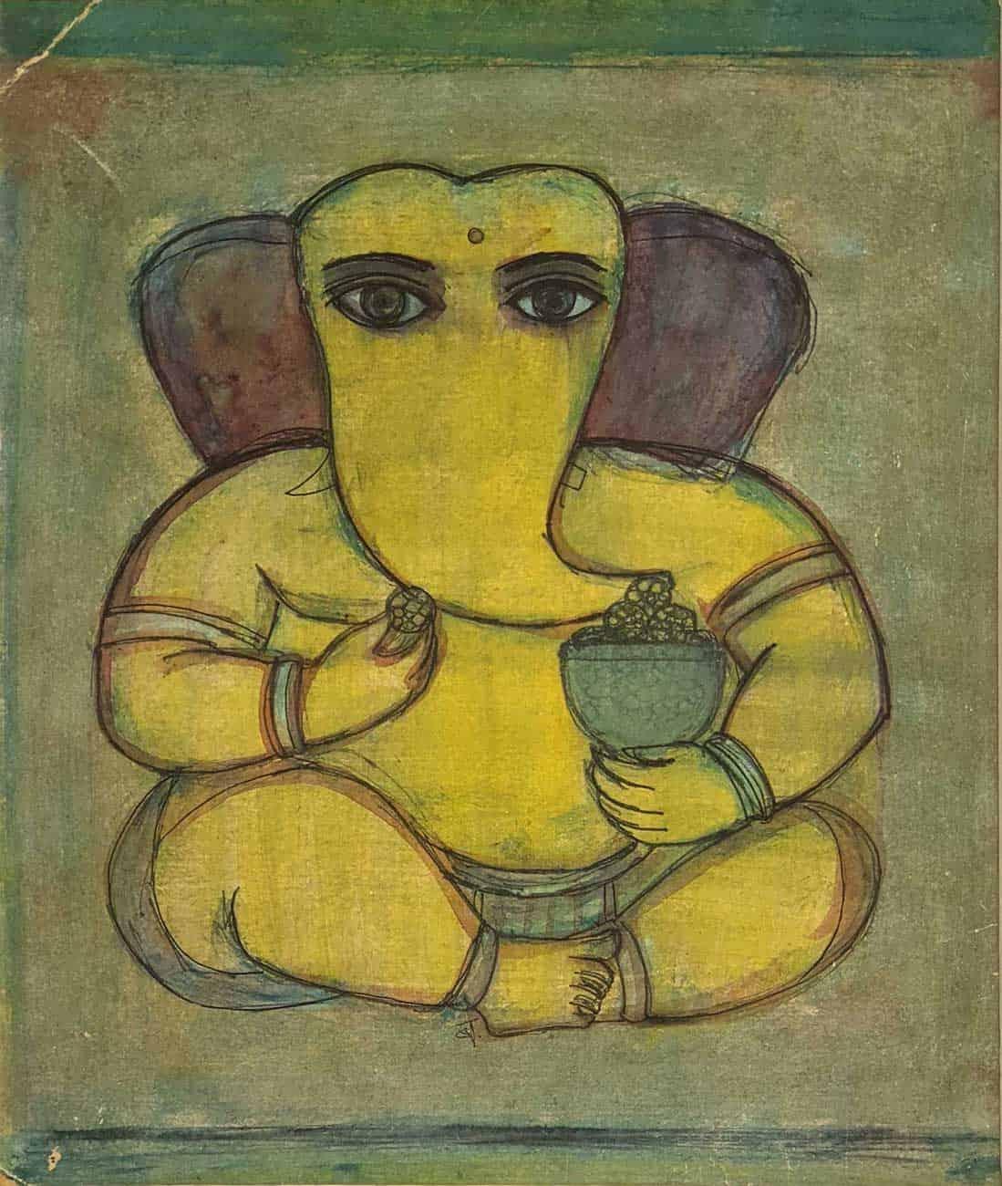 """Ganapati, Mixed Media on Board, Green, Yellow, Brown by Badri Narayan """"In Stock"""""""