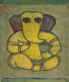 "Ganapati, Mixed Media on Board, Green, Yellow, Brown by Badri Narayan ""In Stock"""