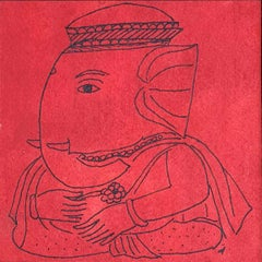 "Ganesha, God, Ink & Watercolor on paper, Red by Artist Badri Narayan ""In Stock"""