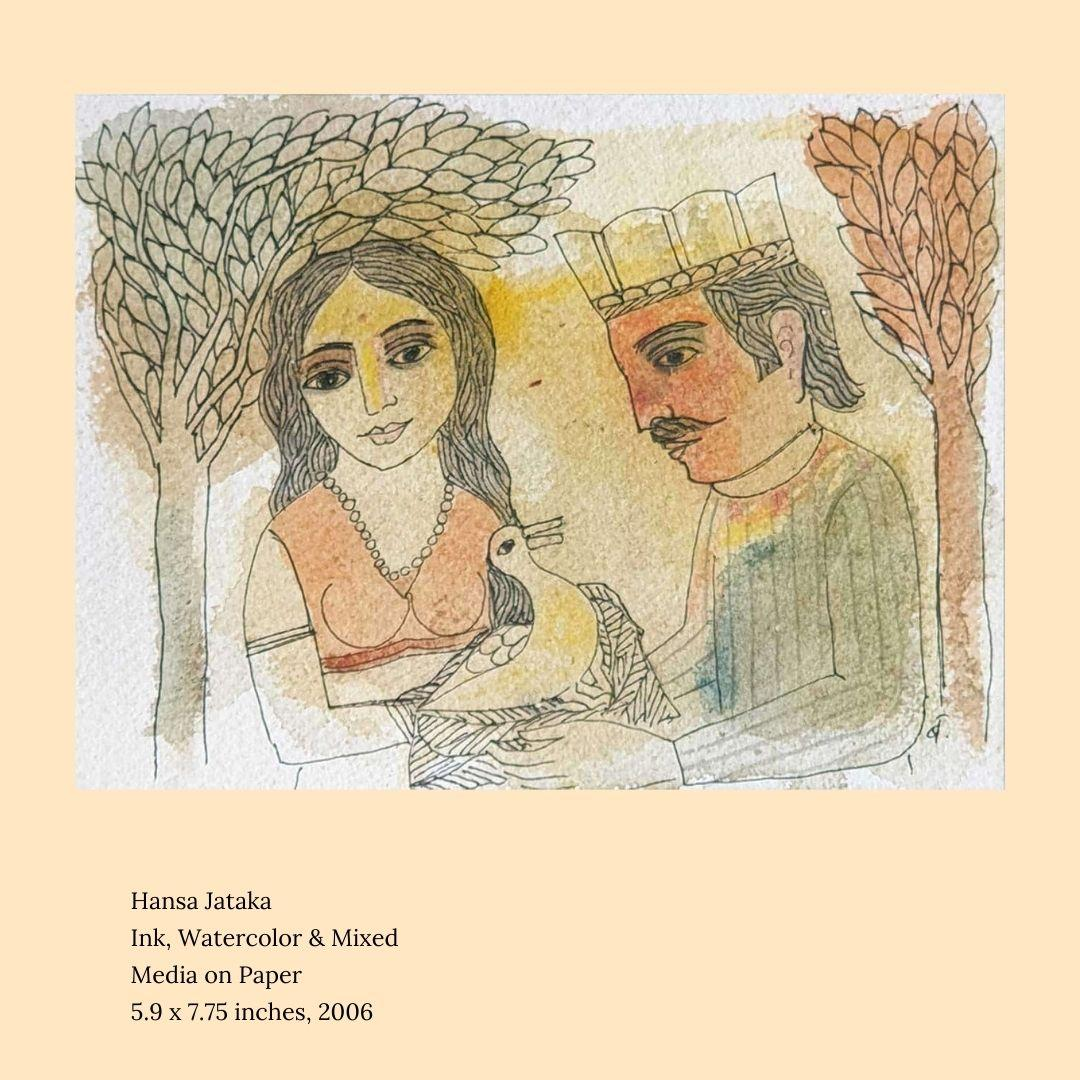 """Hansa Jataka, Ink, Watercolor & Mixed Media on paper by Indian Artist """"In Stock"""""""