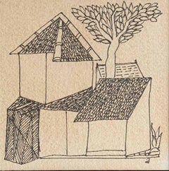 "House, Tree, Drawing, Ink on Paper, Black and White by Badri-Narayan ""In Stock"""