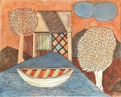 "House, Trees, Cloud, Boat Watercolor,Orange Brown Blue by Badrinatayan""In Stock"""