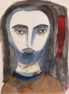 """'Jesu' The Christ,Watercolor on Paper, Blue, Brown, Red, Badrinarayan""""In Stock"""""""