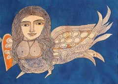 "Kinnara, Nude, Watercolor on paper, Blue, Orange by Indian Artist ""In Stock"""
