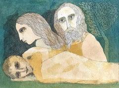 "Savitri, Satyavan & Yama, Watercolor on paper, Green by Indian Artist ""In Stock"""