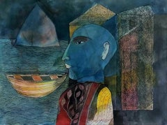 """Scholar from an Eastern Land, Mixed Media on Paper by Modern Artist """"In Stock"""""""