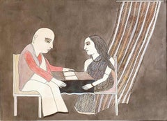 """The Book Reading, Colour Pencil, Watercolor on paper by Indian Artist """"In Stock"""""""