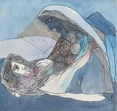 "The Sleeping Monk & Woman, Ink, Watercolor, Mixed Media on paper, Blue""In Stock"""