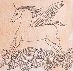 "The Winged Unicorn, Horse, Pen Drawing, Watercolor on paper, Pink ""In Stock"""
