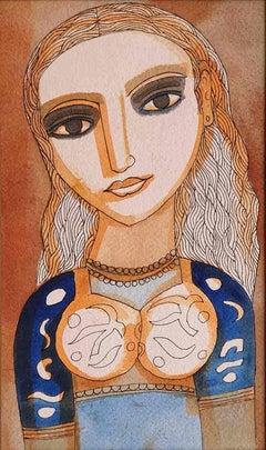 "The Young Bride, Watercolor on paper, Blue, Brown by Indian Artist ""In Stock"""