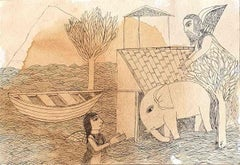 "Welcoming the Young Elephant, Ink, Tea Stain on paper by Indian Artist""In Stock"""