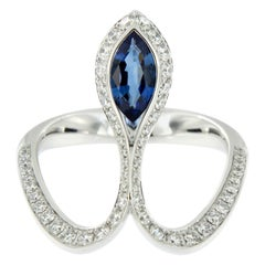 Baenteli Royale Marquise Blue Sapphire Diamond 18 Karat Gold Ring