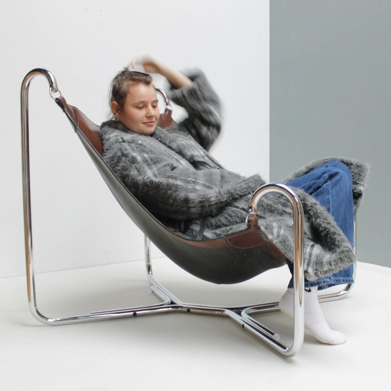 Steel Baffo Lounge Chair by Didone and Pareschi for Busnelli For Sale
