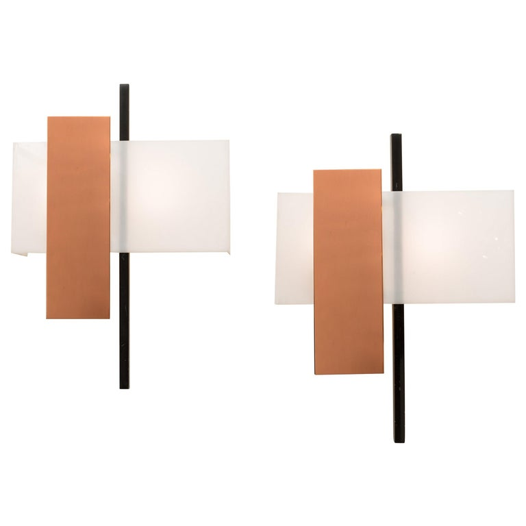 BAG Turgi Copper and Perspex Sconces, Switzerland, 1960s For Sale